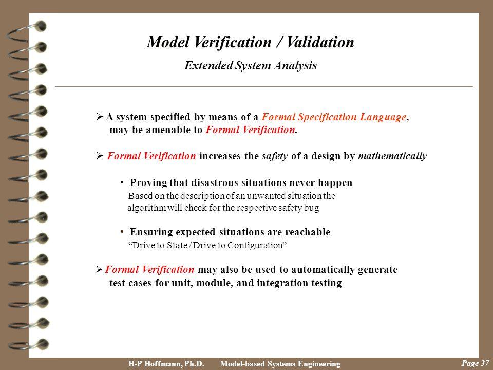 Model Verification / Validation Extended System Analysis