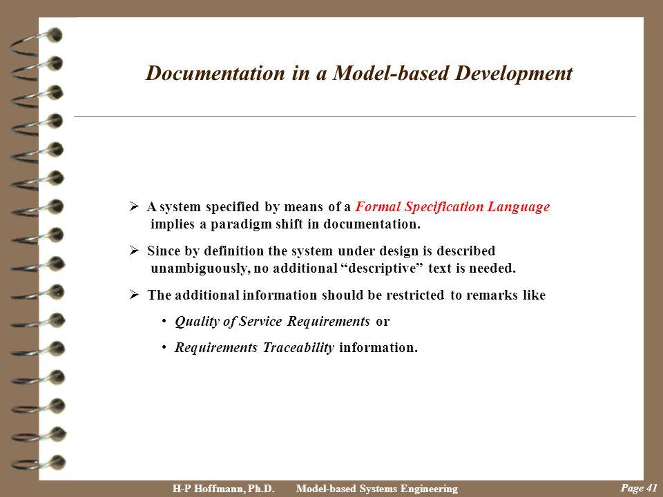 Documentation in a Model-based Development