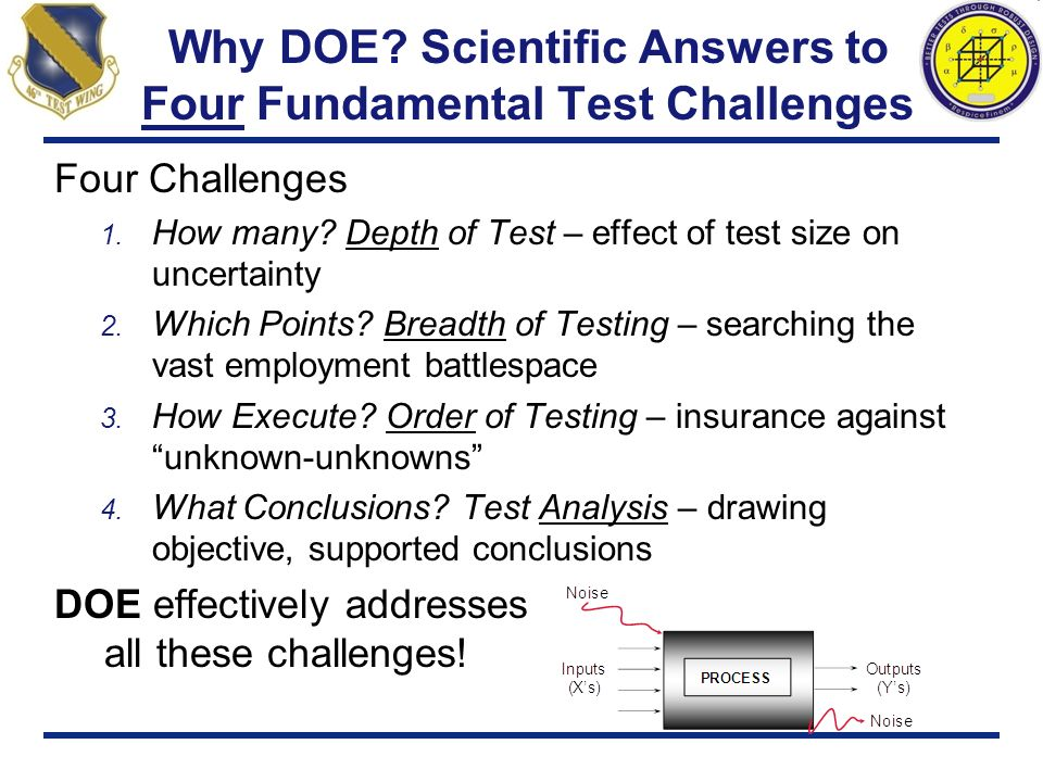 Why DOE Scientific Answers to Four Fundamental Test Challenges