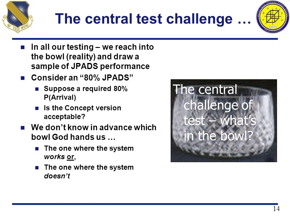The central test challenge …