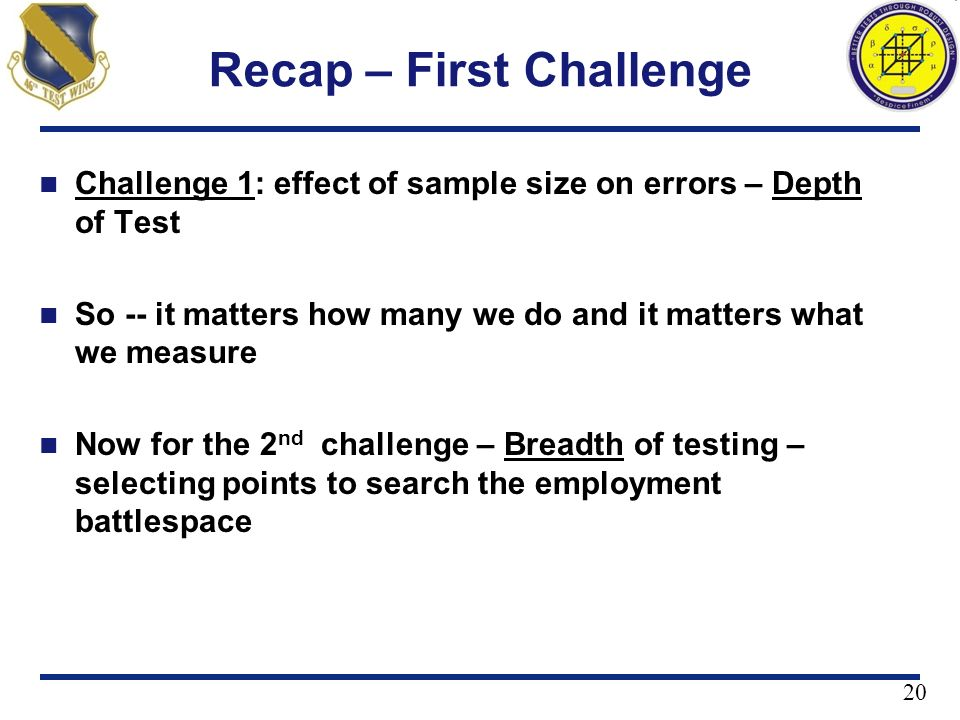 Recap – First Challenge