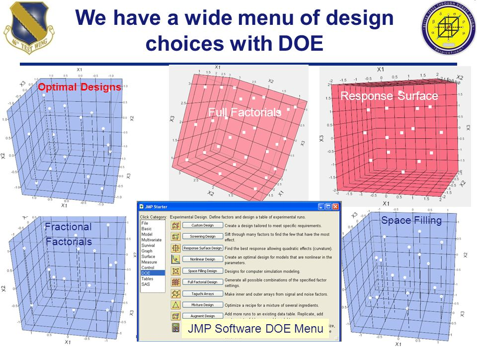 We have a wide menu of design choices with DOE