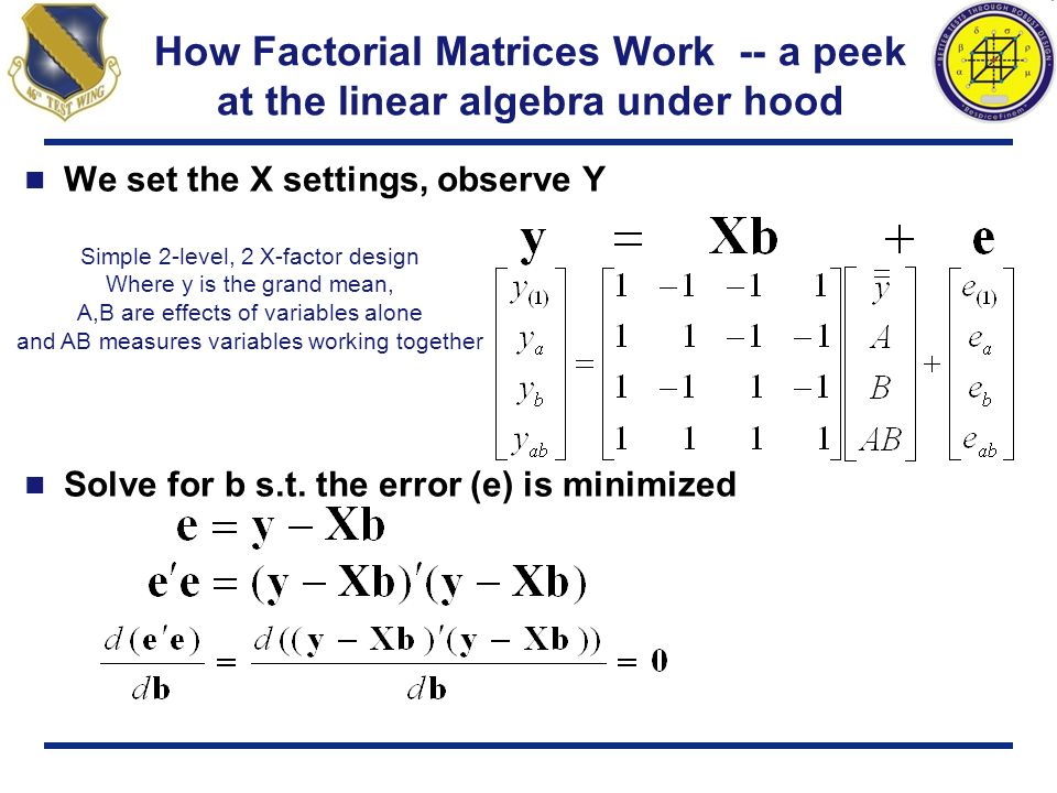 How Factorial Matrices Work -- a peek at the linear algebra under hood