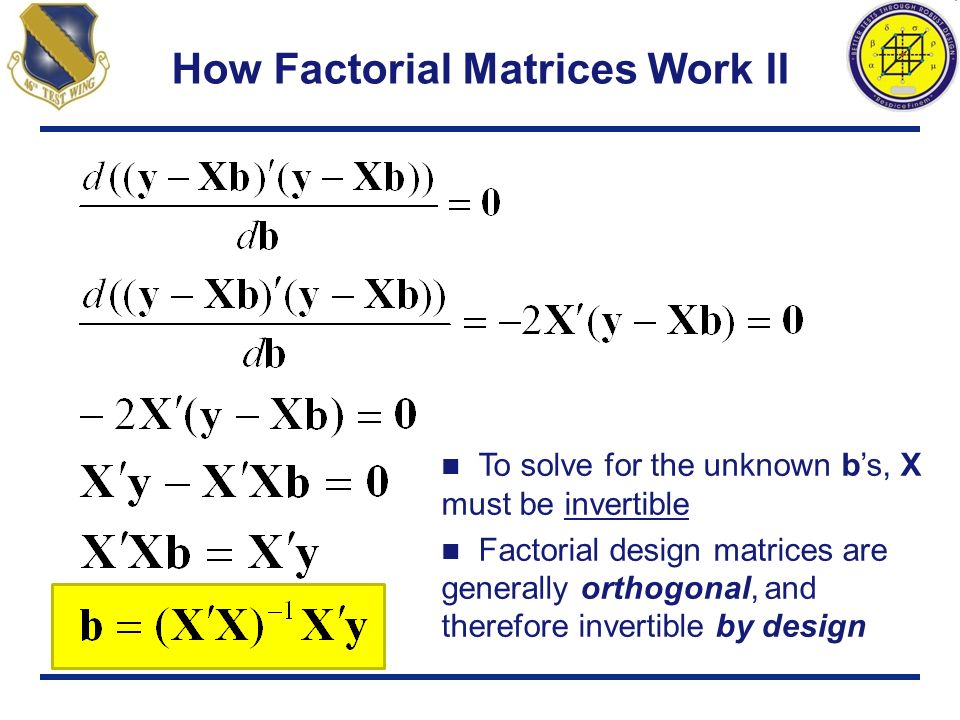 How Factorial Matrices Work II