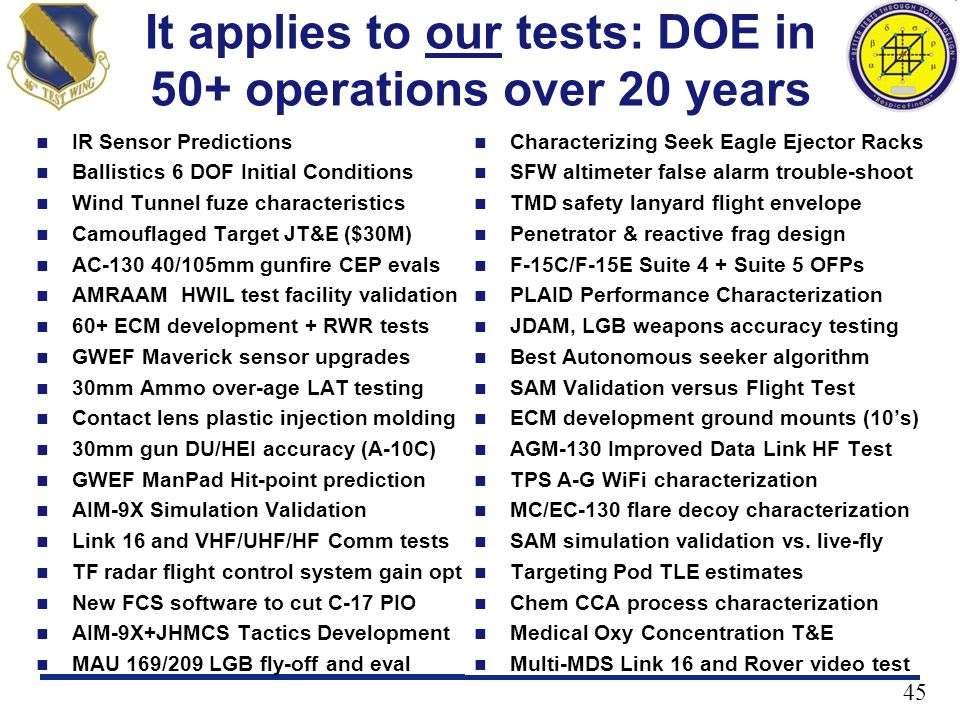 It applies to our tests: DOE in 50+ operations over 20 years