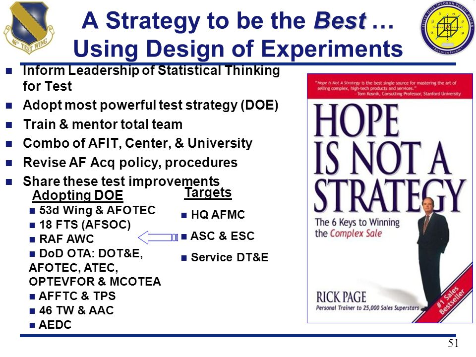 A Strategy to be the Best … Using Design of Experiments