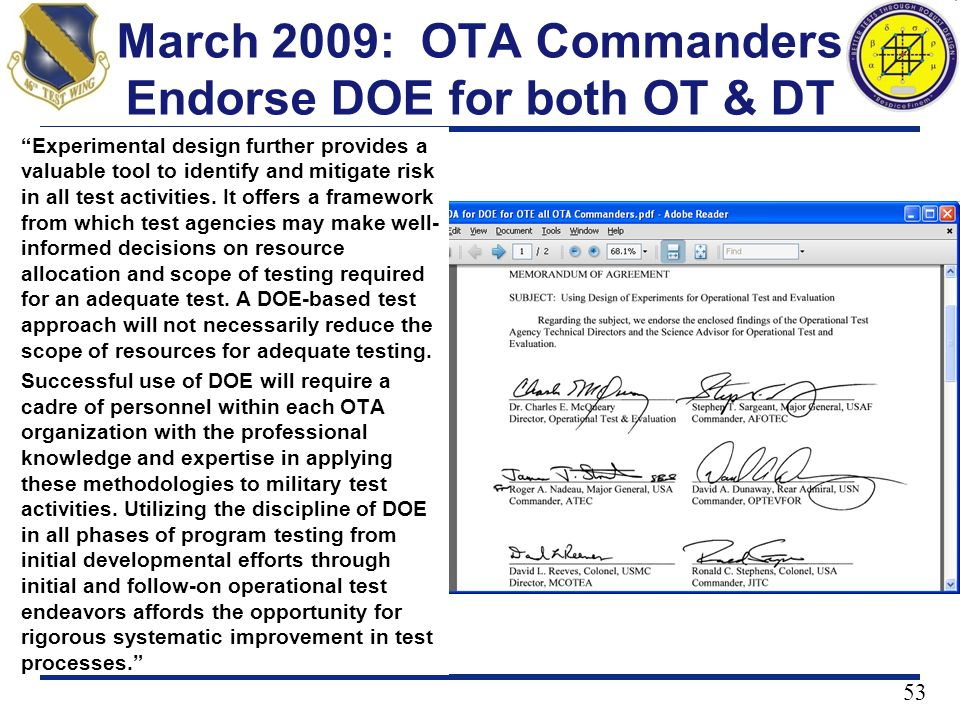 March 2009: OTA Commanders Endorse DOE for both OT & DT