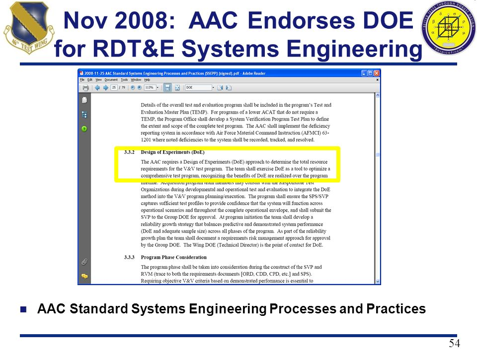 Nov 2008: AAC Endorses DOE for RDT&E Systems Engineering