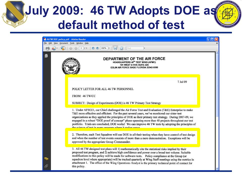 July 2009: 46 TW Adopts DOE as default method of test
