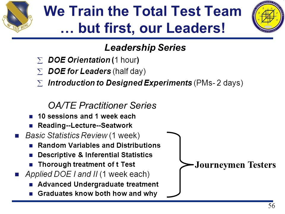 We Train the Total Test Team … but first, our Leaders!