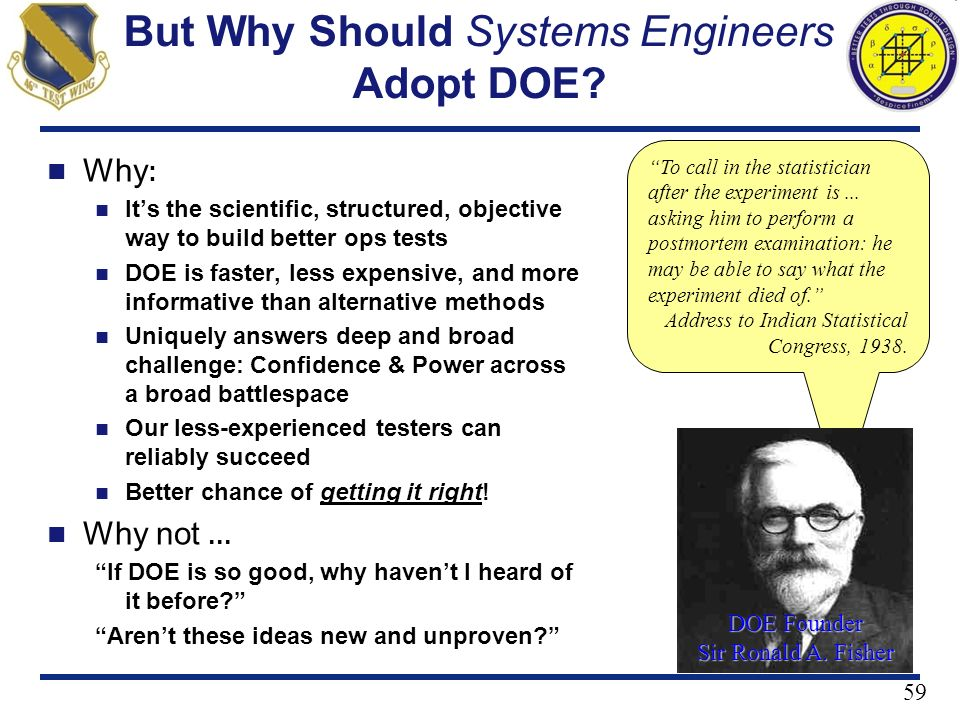 But Why Should Systems Engineers Adopt DOE