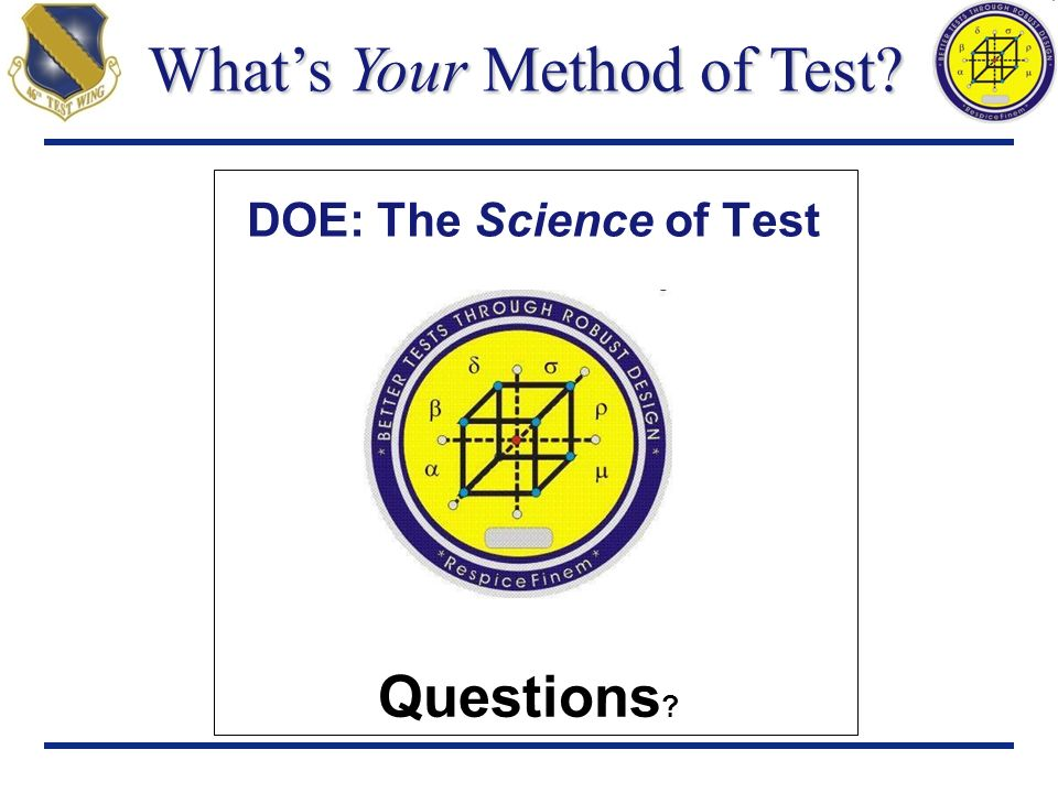 DOE: The Science of Test