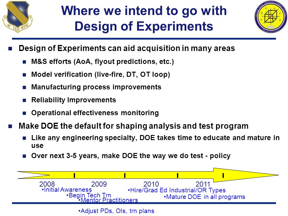 Where we intend to go with Design of Experiments