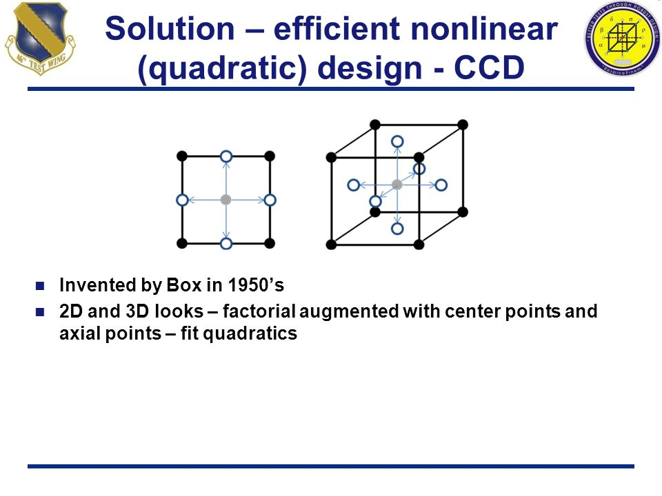 Solution – efficient nonlinear (quadratic) design - CCD
