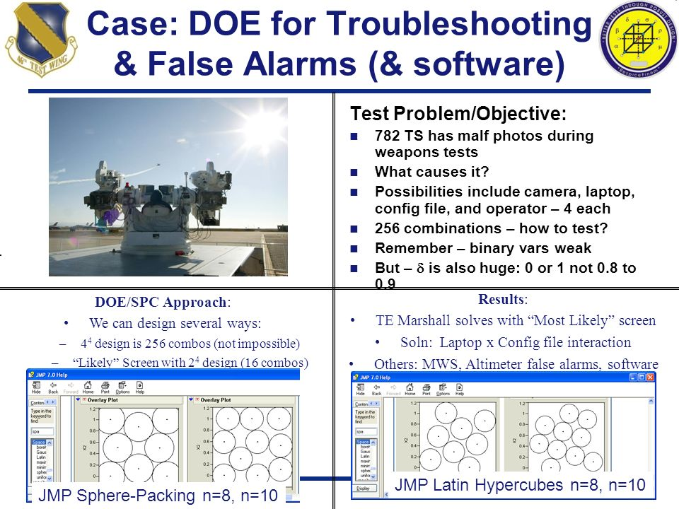 Case: DOE for Troubleshooting & False Alarms (& software)