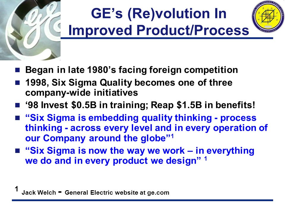 GE's (Re)volution In Improved Product/Process