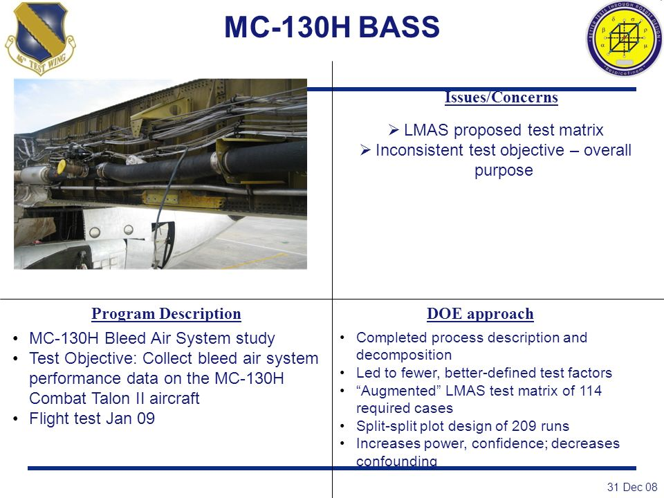 MC-130H BASS Issues/Concerns LMAS proposed test matrix
