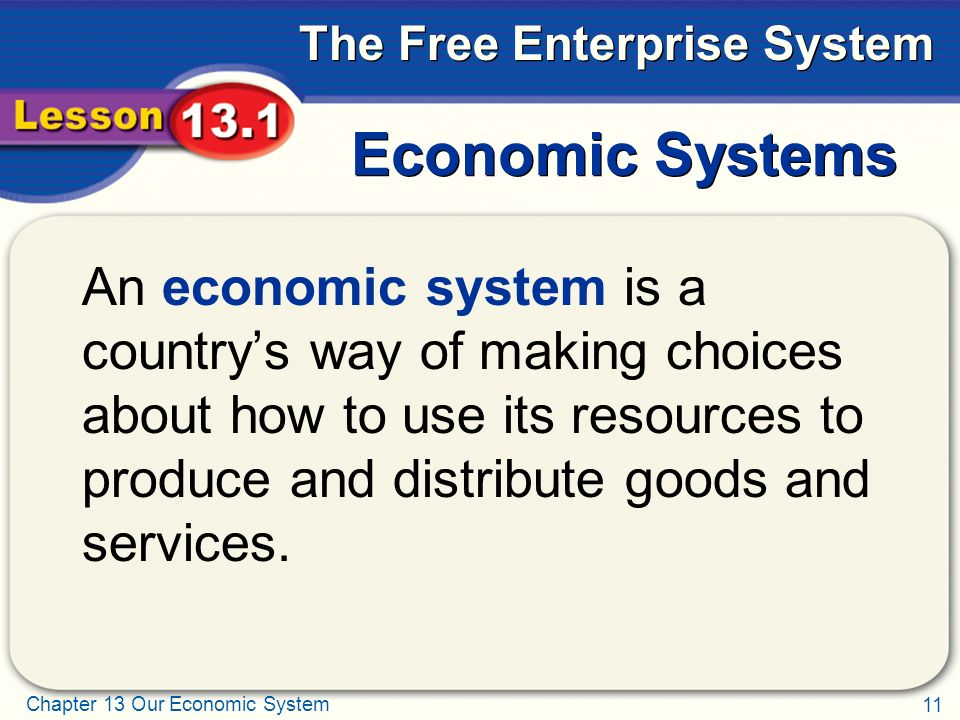 Economic Systems An economic system is a country's way of making choices about how to use its resources to produce and distribute goods and services.