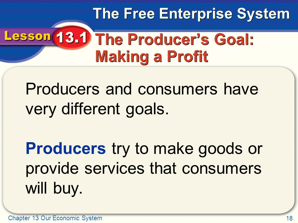 The Producer's Goal: Making a Profit