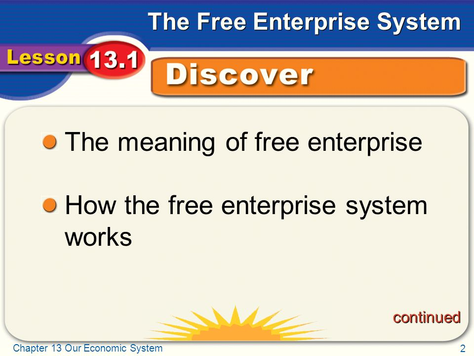 The meaning of free enterprise How the free enterprise system works