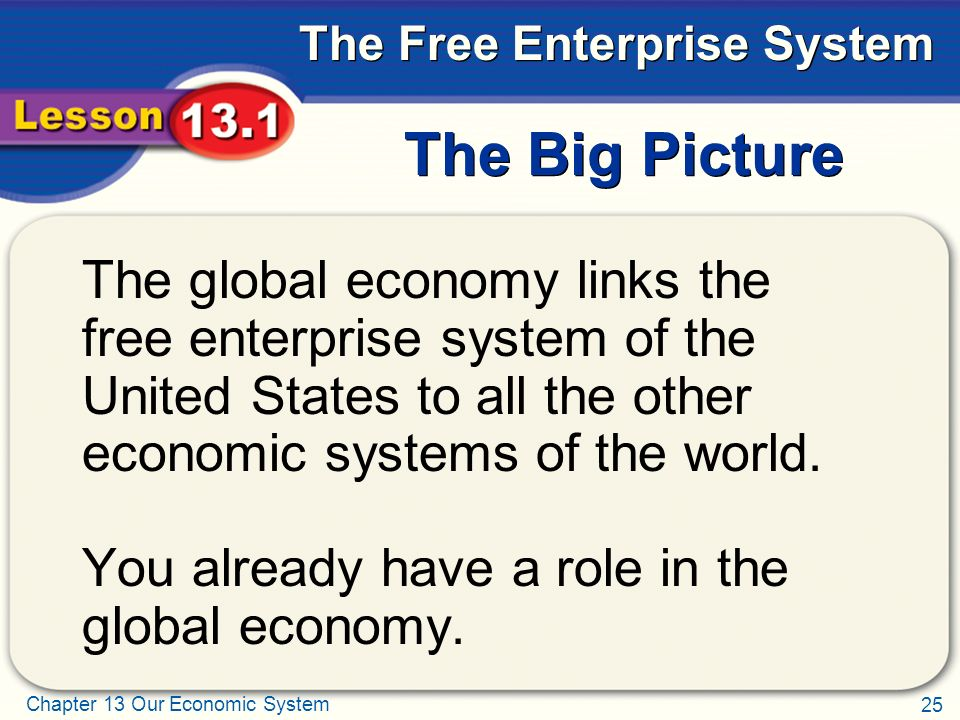 The Big Picture The global economy links the free enterprise system of the United States to all the other economic systems of the world.