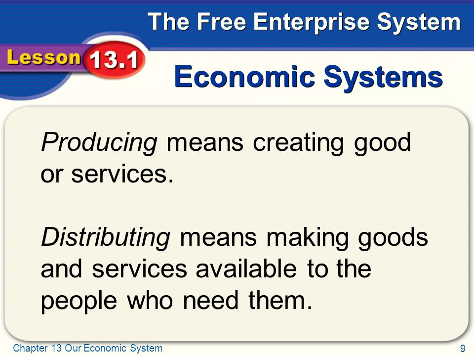 Economic Systems Producing means creating good or services.