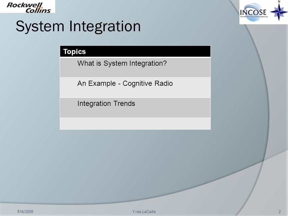 System Integration Topics What is System Integration