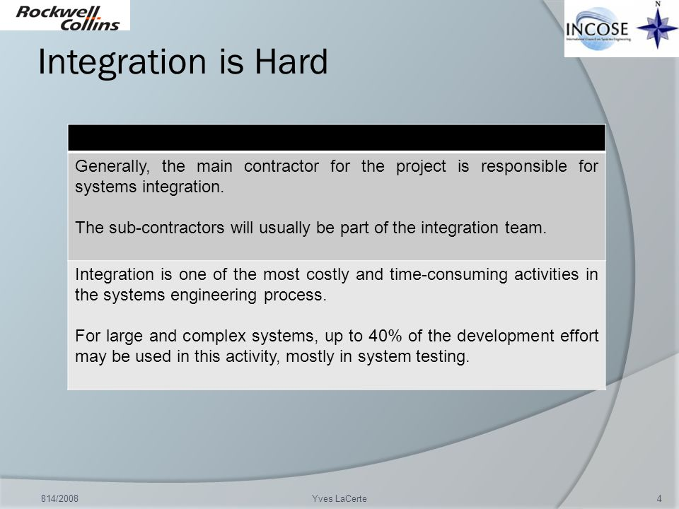 Integration is Hard Generally, the main contractor for the project is responsible for systems integration.