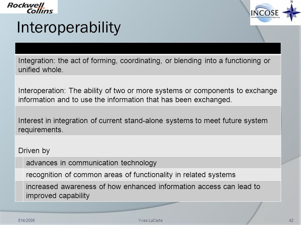 Interoperability Integration: the act of forming, coordinating, or blending into a functioning or unified whole.