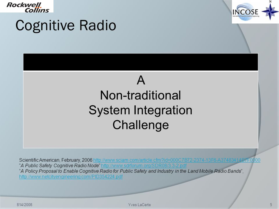 Cognitive Radio A Non-traditional System Integration Challenge