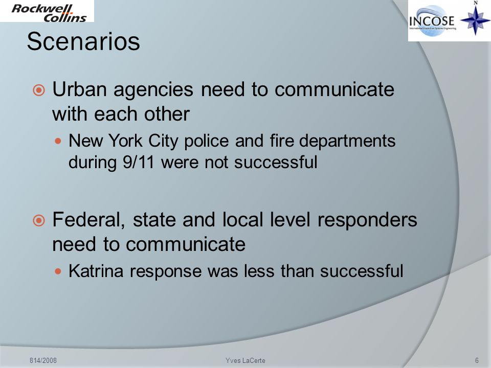 Scenarios Urban agencies need to communicate with each other
