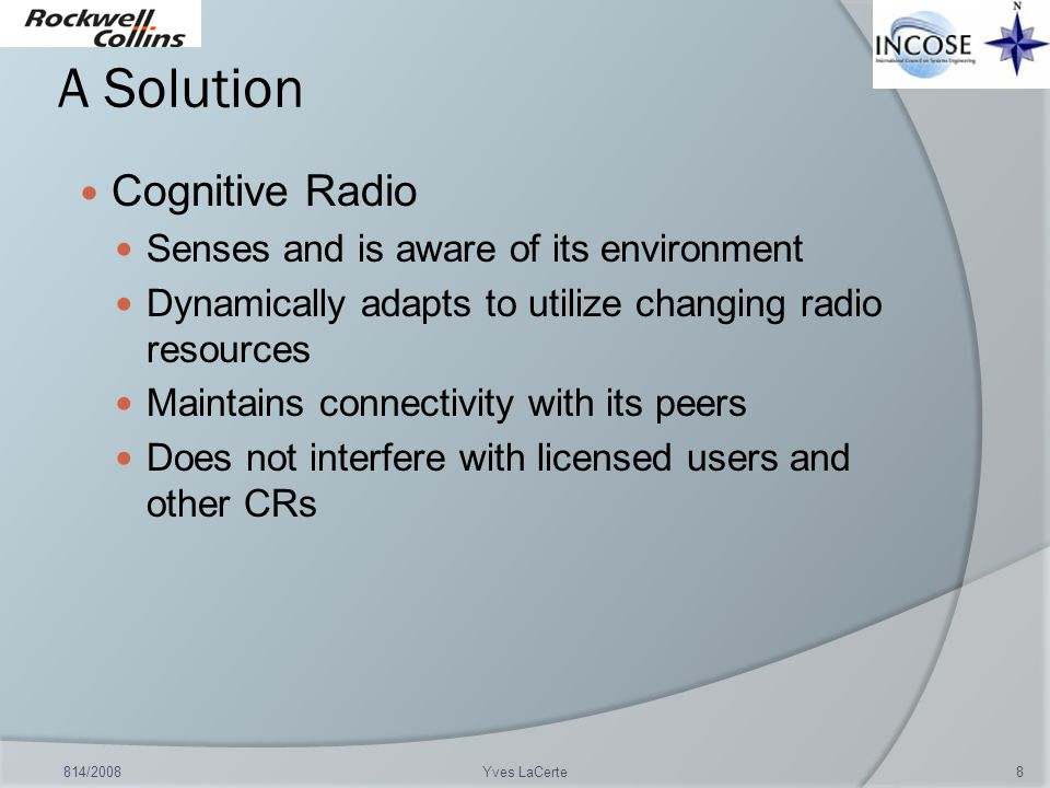 A Solution Cognitive Radio Senses and is aware of its environment