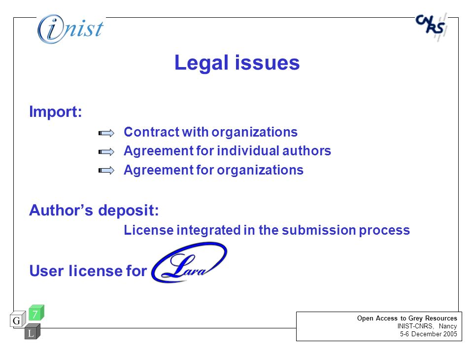 Legal issues Import: Author's deposit: User license for