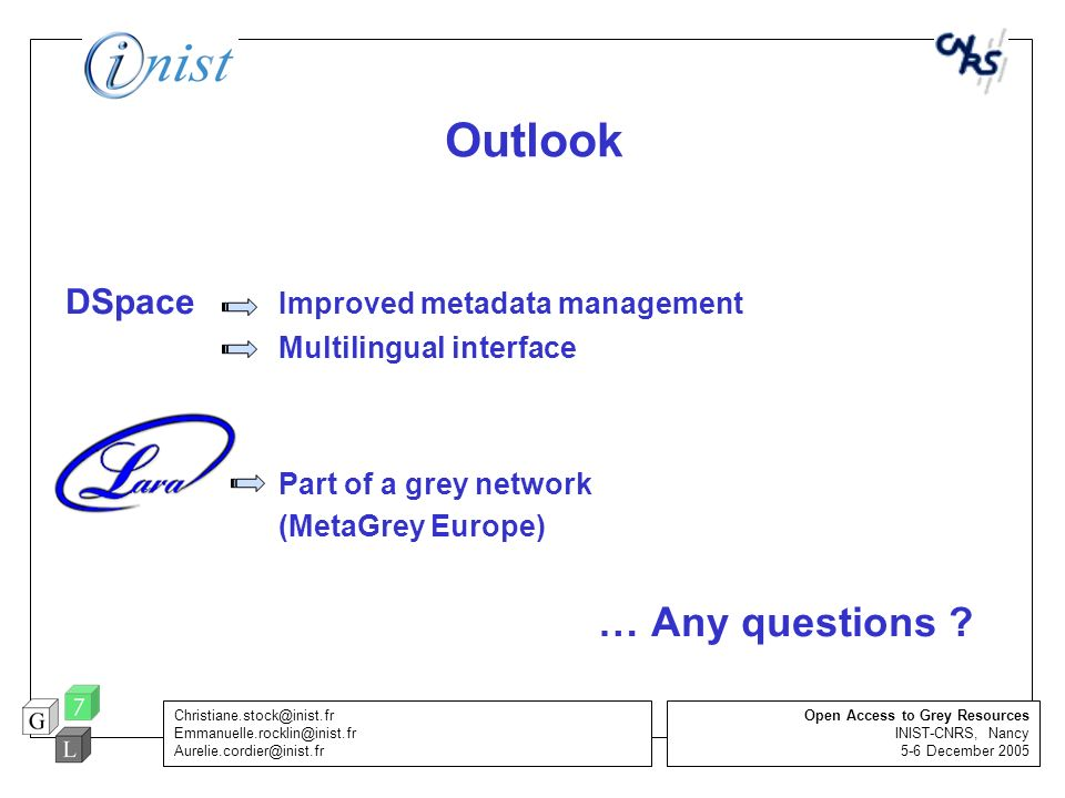 Outlook DSpace Improved metadata management Multilingual interface