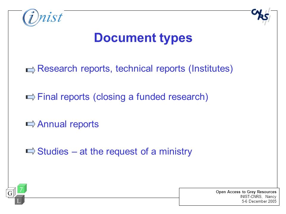 Document types Research reports, technical reports (Institutes)