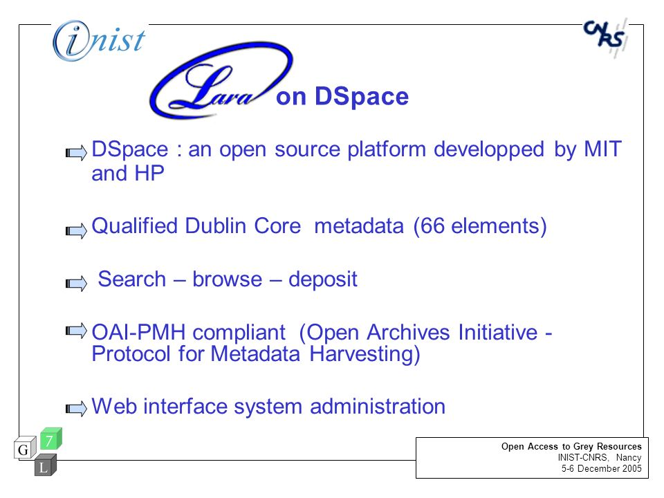 DSpace : an open source platform developped by MIT and HP