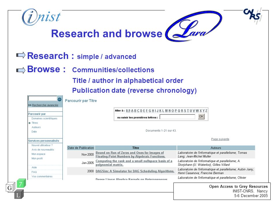 Research and browse Research : simple / advanced