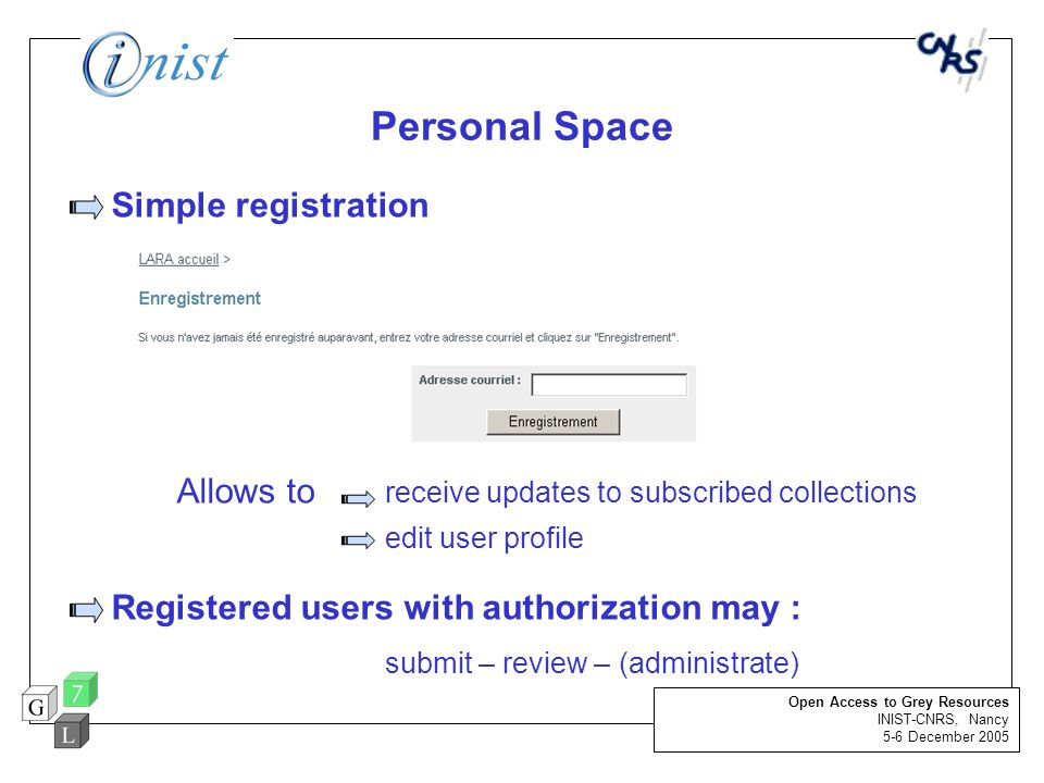 Registered users with authorization may :