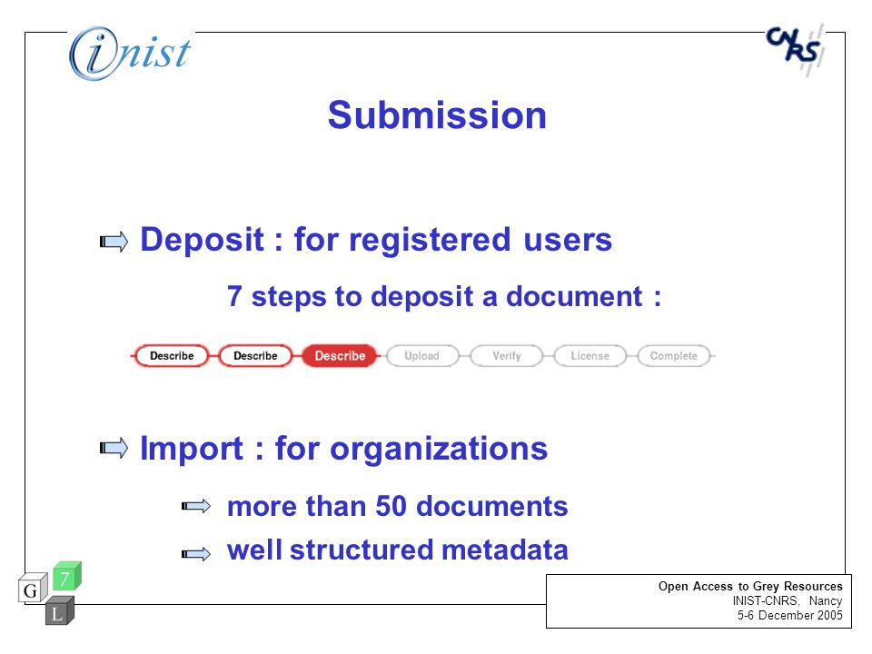 Deposit : for registered users 7 steps to deposit a document :