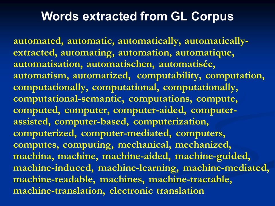 Words extracted from GL Corpus