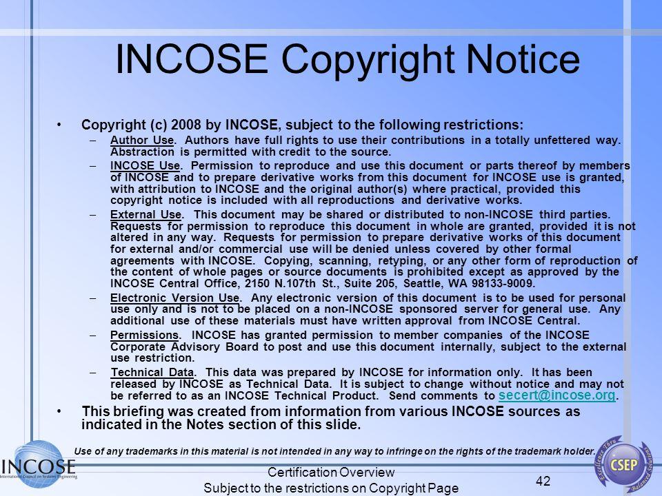 INCOSE Copyright Notice