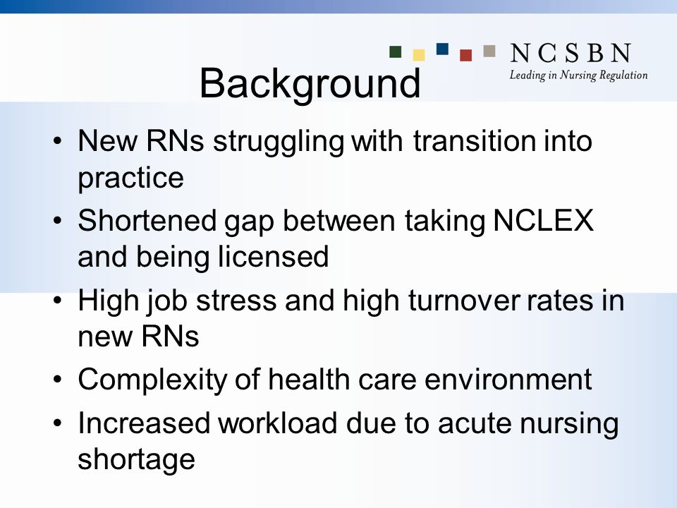 Background New RNs struggling with transition into practice