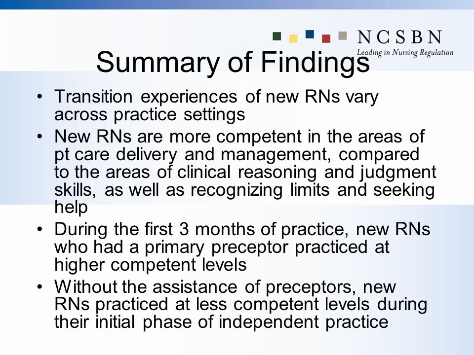 Summary of Findings Transition experiences of new RNs vary across practice settings.