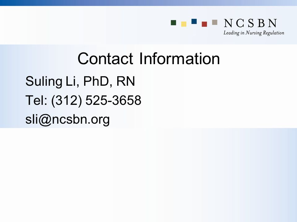Contact Information Suling Li, PhD, RN Tel: (312)