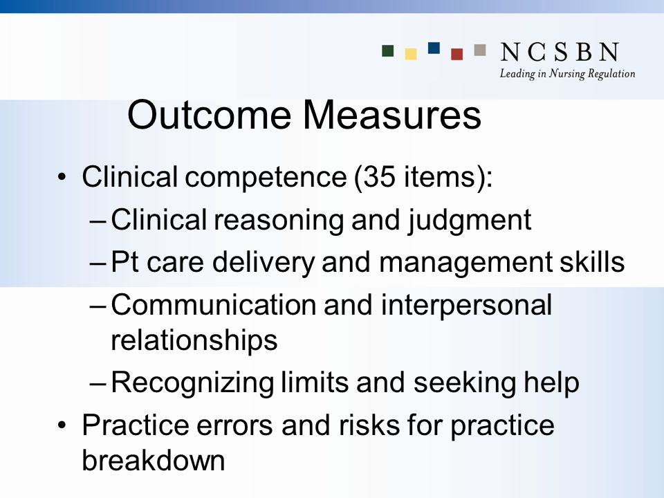 Outcome Measures Clinical competence (35 items):
