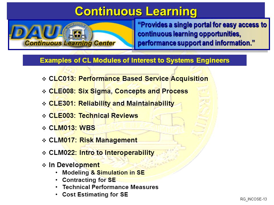 Examples of CL Modules of Interest to Systems Engineers
