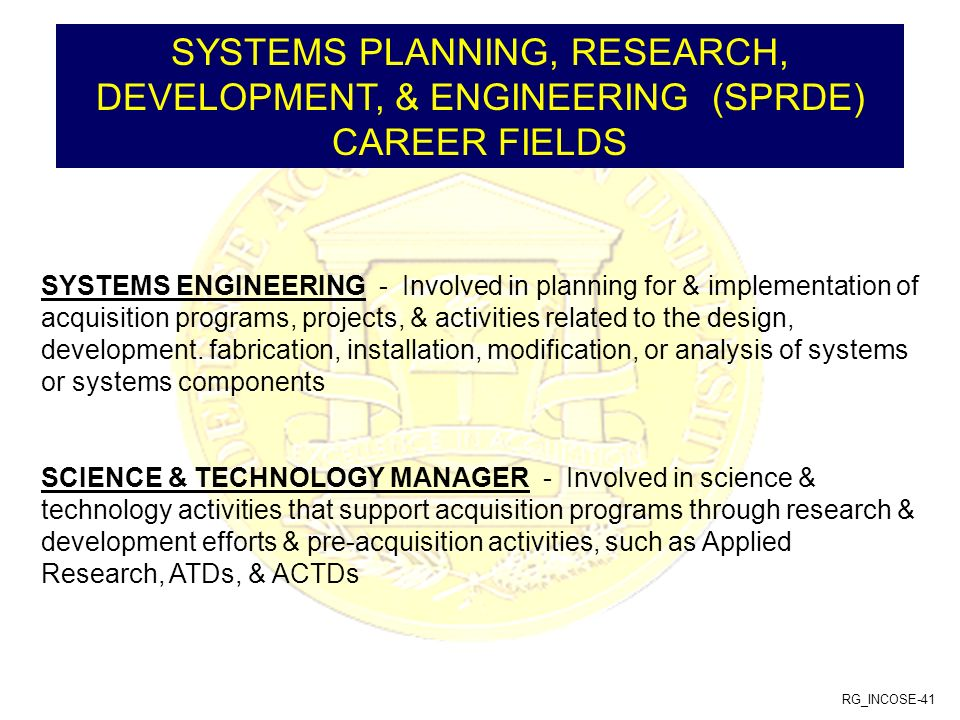SYSTEMS PLANNING, RESEARCH, DEVELOPMENT, & ENGINEERING (SPRDE) CAREER FIELDS