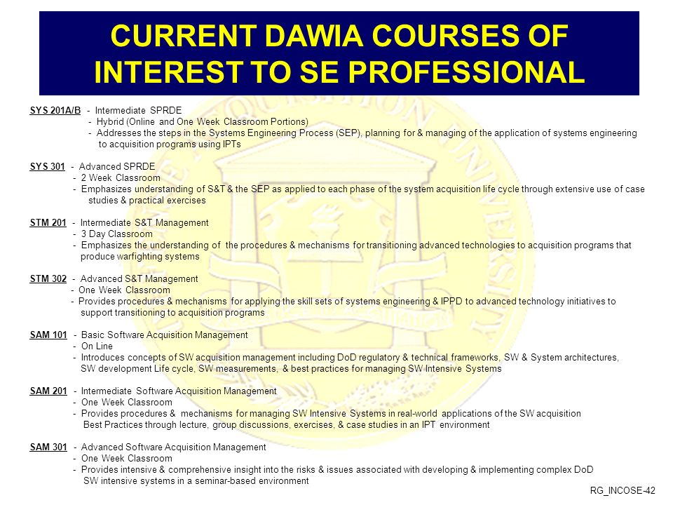 CURRENT DAWIA COURSES OF INTEREST TO SE PROFESSIONAL