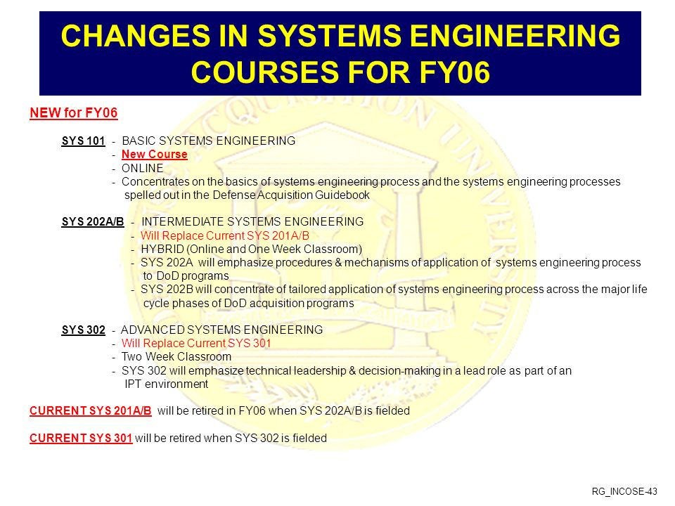 CHANGES IN SYSTEMS ENGINEERING COURSES FOR FY06
