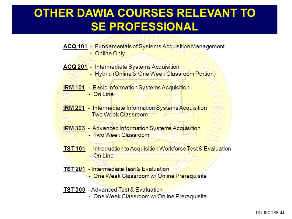 OTHER DAWIA COURSES RELEVANT TO SE PROFESSIONAL